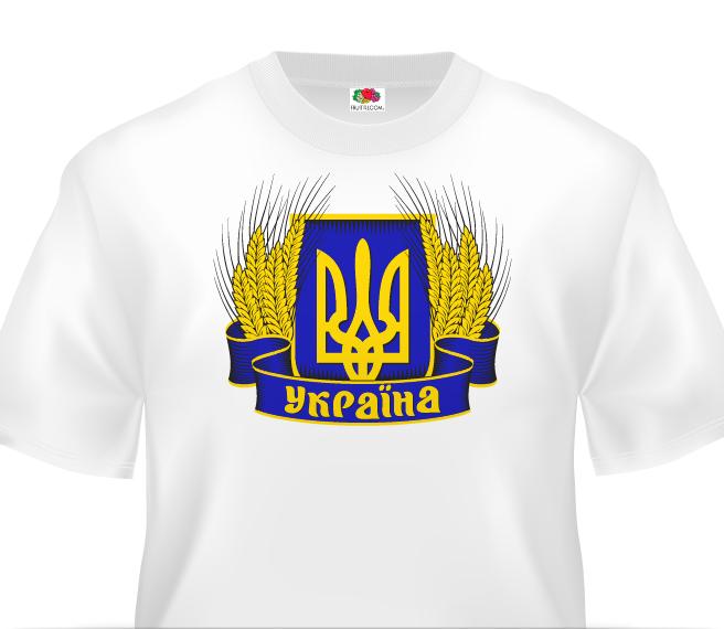 Біла футболка з зображенням герба України у вінку з колосків пшениці. 9209444a2bb7c